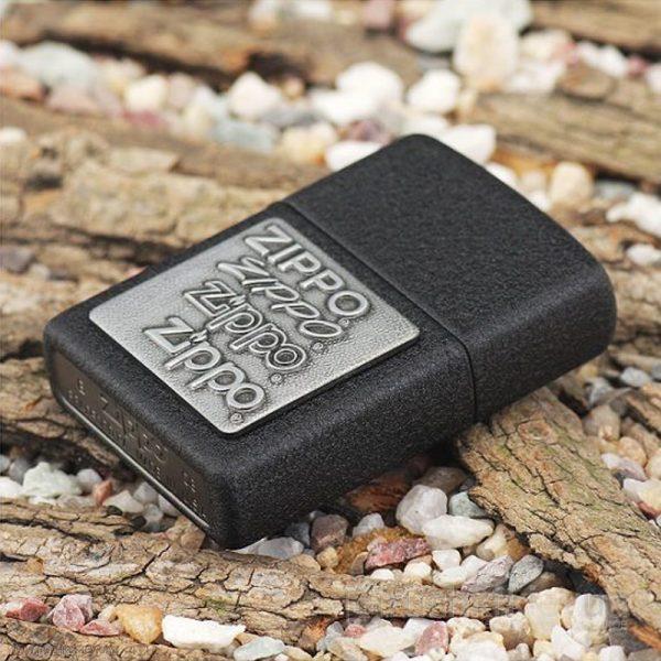 122 Zippo Lighter Pewter Emblem Black Crackle 1 Zippo 363