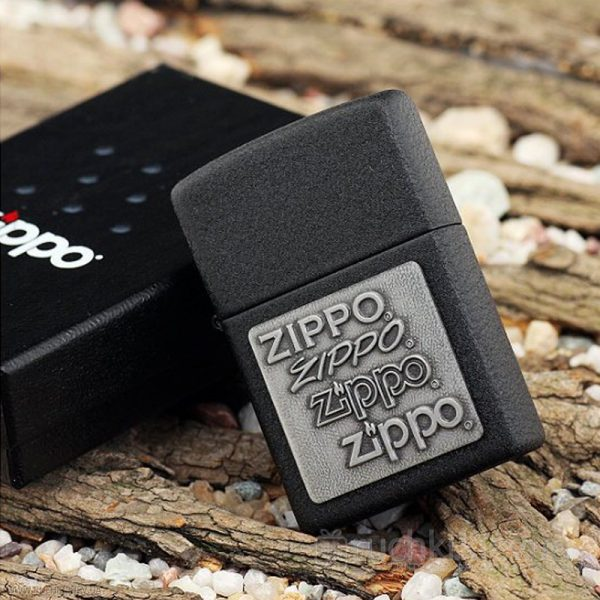 122 Zippo Lighter Pewter Emblem Black Crackle 2 Zippo 363