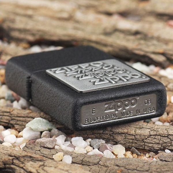 122 Zippo Lighter Pewter Emblem Black Crackle 3 Zippo 363