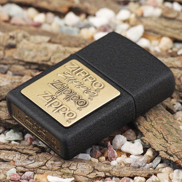 124 Zippo Lighter Brass Emblem Black Crackle 1 Zippo 362