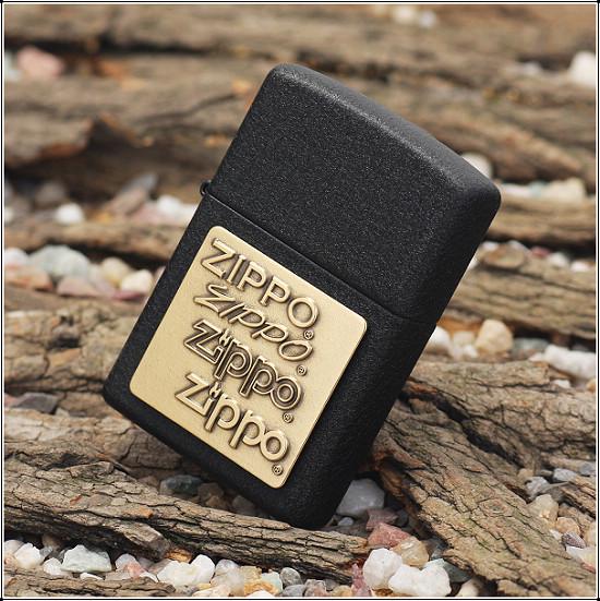 124 Zippo Lighter Brass Emblem Black Crackle 3 Zippo 362