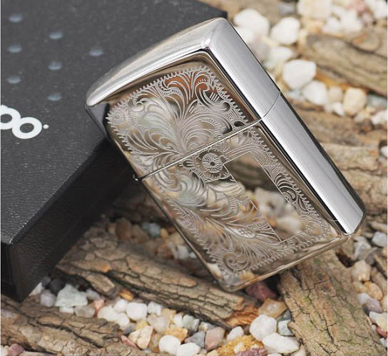 137 Zippo Lighter Venetian Polished Chrome 3 Zippo 352