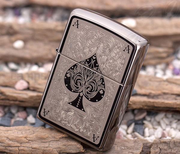 761 Zippo Lighter Ace Filigree Black Ice 1 Zippo 28323