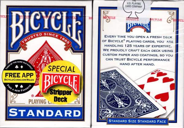karte bicycle stripper decks red and blue